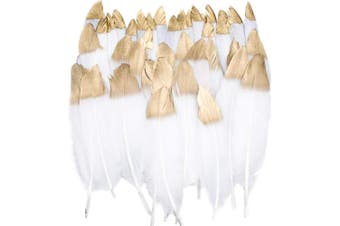 (White) - Benvo 40 Pcs Gold Dipped White Feathers 6-20cm Natural Feathers for Any Crafts Projects Feather Garlands Boho Bohemian Décor Nursery Home Bedroom Wall Decorations Party and Dream Catcher Supplies