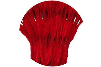 (Red) - Carykon Pack of 100 Pipe Cleaners Fuzzy Bumpy Chenille Stems for Creative Handmade DIY Art Craft (Red)
