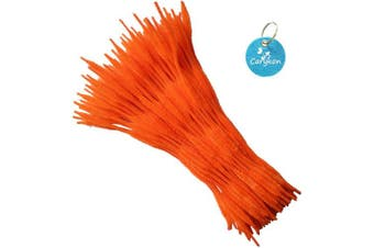 (Orange) - Carykon Pack of 100 Pipe Cleaners Fuzzy Bumpy Chenille Stems for Creative Handmade DIY Art Craft (Orange)