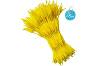 (Yellow) - Carykon Pack of 100 Pipe Cleaners Fuzzy Bumpy Chenille Stems for Creative Handmade DIY Art Craft (Yellow)