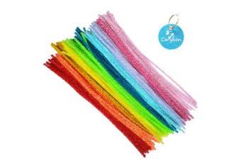 (iridescent-Mix) - Carykon 100 PCS 30cm Iridescent Tinsel Stems Fuzzy Pipe Cleaners (iridescent-Mix)