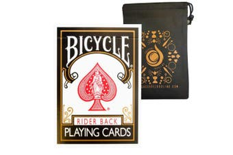Coloured Bicycle Playing Cards - Classic Rider Back Design- Includes Cascade Card Bag (Black)