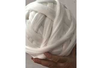 (1kg/2.2 lbs, White) - Giant Wool Yarn Chunky Arm Knitting Super Soft Wool Yarn Bulky Wool Roving (1kg/2.2 lbs, White)