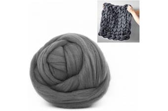 (0.5kg/1.1 lbs, Dark Grey) - Giant Wool Yarn Chunky Arm Knitting Super Soft Wool Yarn Bulky Wool Roving (0.5kg/1.1 lbs, Dark Grey)