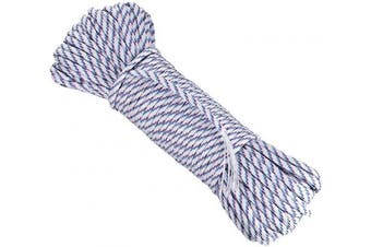 (white-blue-red) - DonDon 98 ft - 30 m nylon cord Paracord survival DIY rope cord for outdoor camping activities 0.6 inch - 4 mm - 7 strands