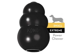 (Small, Black) - KONG - Extreme Dog Toy - Toughest Natural Rubber, Black - Fun to Chew, Chase and Fetch - For Small Dogs