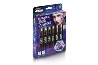 (Silver) - Cosmic Moon - Metallic Face Paint Stick/Body Crayon makeup for the Face & Body - 3.5g - Easily create metallic designs like a pro! - Silver