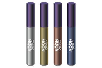 Cosmic Moon - Metallic Eye Liner - 10ml - For mesmerising metallic eye styles - Set of 4 colours - Includes: Silver, Gold, Rose Gold, Blue