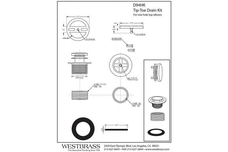 (Polished Chrome) - Westbrass Twist & Close Universal Tub Trim with Floating Faceplate, Polished Chrome, D94HK-26