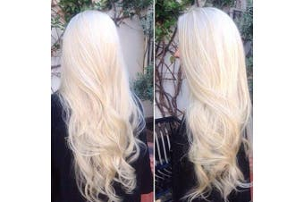 (60cm , Natural Wave,#60) - BLUPLE Platinum Blonde Heat Resistant Synthetic Lace Front Wig Long Natural Wavy Glueless Half Hand Tied Replacement Full Wigs for Women (60cm , Natural Wave,#60)