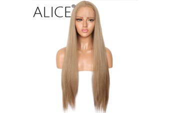 (Flaxen) - ALICE Blonde Wig Lace Front Wigs, 60cm Long Natural Straight Light Brown Middle Part Synthetic Full Wig for Women Girls