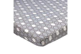 (Honeycomb Gray) - Abstract Cradle Sheets Fitted 46cm X 90cm – Cradle Sheets for Boys and Girls Cradle Sheets for Baby - Infant Deep Fitted Soft Jersey 100% Cotton Knit Cradle Sheets (Honeycomb Grey)