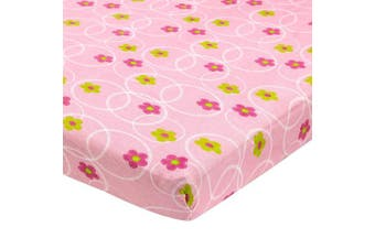 (Floral Pink) - Cradle Sheets Fitted 46cm X 90cm – Cradle Sheets for Boys and Girls - Abstract Cradle Sheets for Baby - Infant Deep Fitted Soft Jersey 100% Cotton Knit Cradle Sheets (Floral Pink)