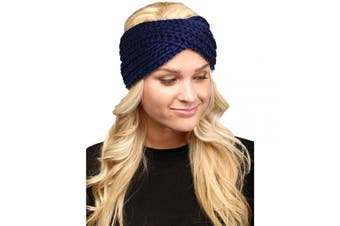 (Twisted-Navy) - by you Women's Soft Knitted Winter Headband Head Wrap Ear Warmer (Twisted-Navy)