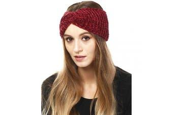 (Chenille-Burgundy) - by you Women's Soft Knitted Winter Headband Head Wrap Ear Warmer (Chenille-Burgundy)