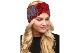 (Flower-Burgundy) - by you Women's Soft Knitted Winter Headband Head Wrap Ear Warmer (Flower-Burgundy)