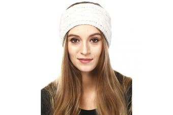 (Solid Cable-Ivory) - by you Women's Soft Knitted Winter Headband Head Wrap Ear Warmer (Solid Cable-Ivory)