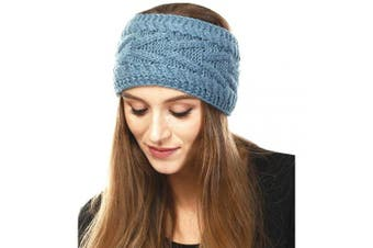 (Solid Cable-Teal) - by you Women's Soft Knitted Winter Headband Head Wrap Ear Warmer (Solid Cable-Teal)