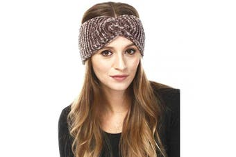 (Chenille-Taupe) - by you Women's Soft Knitted Winter Headband Head Wrap Ear Warmer (Chenille-Taupe)