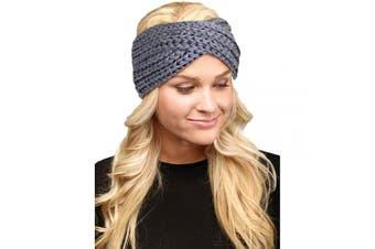 (Twisted-Grey) - by you Women's Soft Knitted Winter Headband Head Wrap Ear Warmer (Twisted-Grey)