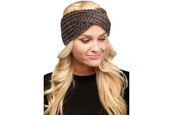 (Twisted-Taupe) - by you Women's Soft Knitted Winter Headband Head Wrap Ear Warmer (Twisted-Taupe)