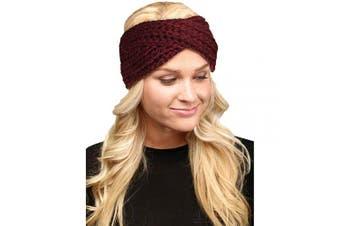 (Twisted-Burgundy) - by you Women's Soft Knitted Winter Headband Head Wrap Ear Warmer (Twisted-Burgundy)