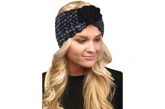 (Flower-Black) - by you Women's Soft Knitted Winter Headband Head Wrap Ear Warmer (Flower-Black)