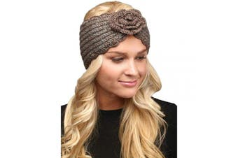 (Flower-Taupe) - by you Women's Soft Knitted Winter Headband Head Wrap Ear Warmer (Flower-Taupe)