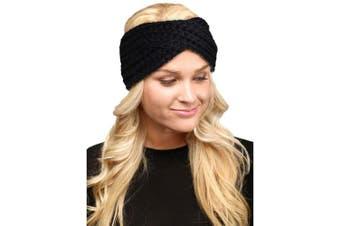 (Twisted-Black) - by you Women's Soft Knitted Winter Headband Head Wrap Ear Warmer (Twisted-Black)
