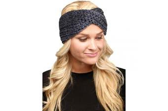 (Twisted-Dark Grey) - by you Women's Soft Knitted Winter Headband Head Wrap Ear Warmer (Twisted-Dark Grey)