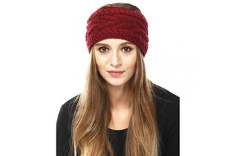 (Solid Cable-Burgundy) - by you Women's Soft Knitted Winter Headband Head Wrap Ear Warmer (Solid Cable-Burgundy)