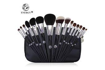 (15Pcs Makeup Brushes Set) - ENERGY 15Pcs Makeup Brushes Set Professional Premium Cosmetic Brushes Foundation Powder Concealers Blending Eye Shadows Face Cruelty-Free Synthetic Fibre Bristles with Travel Makeup Bag, Black