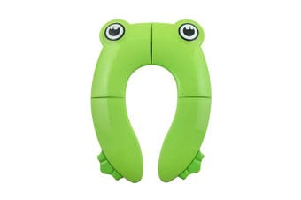 (Green Frog.) - Potty Training Toilet Seat Cover Liner with Non Slip Silicone Pads and Carry Bag,Portable Reusable Potty Seat for Babies, Toddlers and Kids (Green Frog)