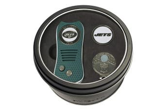 (New York Jets) - Team Golf NFL Tin Gift Set with Switchfix Divot Tool, Cap Clip, and Ball Marker