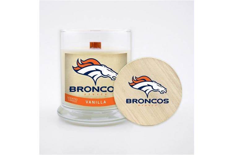 (Denver Broncos, Vanilla) - Worthy Promo (WORV3)))))))))))))))))))) NFL Scented Soy Wax Candle, Wood Wick and Lid, 240ml