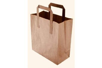 (50, Small) - Packitsafe 50 Small Brown Paper Bags SOS Handled. Flat Handled Carrier Bag, Party Bags, Gift Bags, Takeaway Bags 50SB