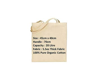 (10, Large with Long Handle(45x40x70)) - IMFAA Tote 100% Natural Cotton Canvas Reusable Shoulder/Hand Shopping Bags. Natural Colour Ideal for Printing and Embroidery (10, Large (45x40x60))