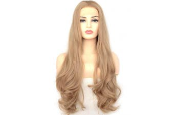 (60cm , Natural Wave,Dark Ash Blonde) - BLUPLE Long Wavy Dark Ash Blonde Heat Resistant Synthetic Lace Front Wig Glueless Half Hand Tied Replacement Full Wigs for Women (60cm , Natural Wave,Dark Ash Blonde)