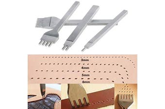 Diamond Lacing Stitching Chisel Set, 4PCS 1/2/4/6 Prong DIY Leather Craft Tools Hole Punches Perforate Craft Kits (White Steel-6mm)
