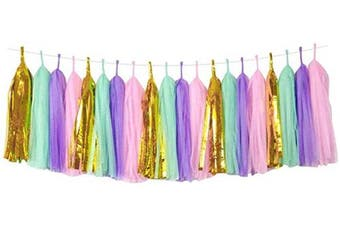 (Bright gold, mint green, light purple, pink) - Cieovo 20 PCS Tissue Paper Tassels, Tassel Garland Banner for Wedding, Baby Shower and Party Decorations, DIY Kits