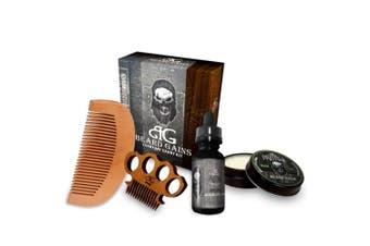 (Pristine Beard Oil/Pristine Beard Balm Medium/Miniknuck Scoop) - Beard Gains Pristine Every Day Carry Beard Care Kit - Beard Oil, Beard Balm Conditioner, Moustache Comb, Wooden Beard Comb
