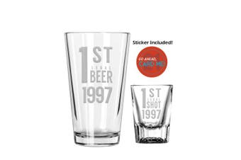 (1997) - 1st Legal 21st Birthday Gift Pint and Shot Glass Boilermaker Set - Finally 21 Card Me Sticker (1997)