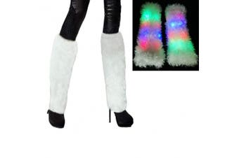 Aoneky LED Lighting Flashing Furry Arm Leg Warmers - Light Up Clothing Accessories for Women & Girls, 1 pair (White)