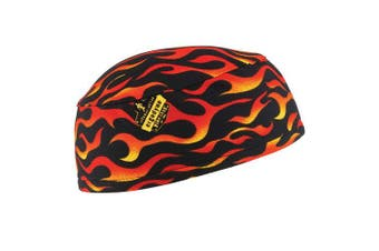 (Flames) - Ergodyne Chill-Its 6630 Absorptive Moisture-Wicking Skull Cap, Flames