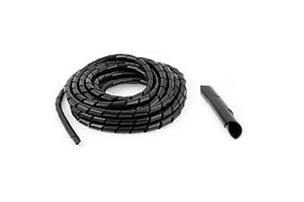 AISIBO PE Polyethylene Spiral Wire Wrap Tube 15m 50ft PC Spiral Wire Wrapping Band 6mm 1/4'' for Computer Cable (Dia 6mm Length 15M Black)