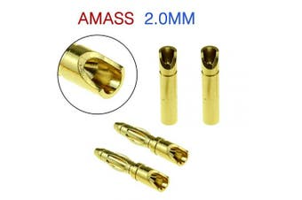(2.00mm) - SoloGood Amass 2.0MM Gold Plated Male and Female Bullet Banana Connectors for DIY RC Battery ESC Motor (20 Pairs)
