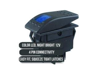 (3x) - Frentaly Blue 12V 20 Amp Waterproof ON Off Custom Marine Boating Vehicle Rocker 4 Pin Control Switch Kit Parent