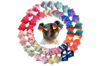 24Pcs Pinwheel Hair Bows for Girls 11cm Colourful Grosgrain Ribbon Bows with Alligator Hair Clips Pigtail Bows in Pairs for Baby Girsl Toddlers Kids Children