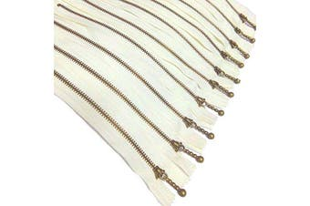 Metal Zippers 10 pcs - #3 Antique Brass Close-end, 7.9 Inch/20 cm, Black - by Beaulegan