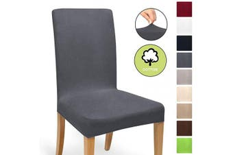 (Anthrazit, Chair Cover) - Beautissu Stretch Cover Mia Cotton Dining Chair Slipcover 45x45cm Bi-Elastic Fitted Cover Chair Protection - Anthrazit